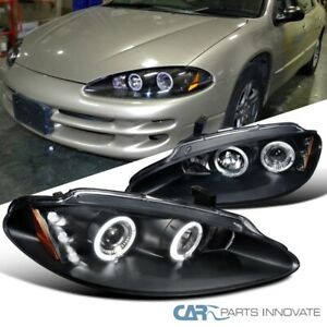 For 98-04 Dodge Intrepid Black LED Halo Projector Headlights Head Lamps Pair
