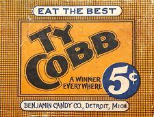 "TIN SIGN ""Ty Cobb Candy""  Snacks Art Deco Garage Wall Decor"