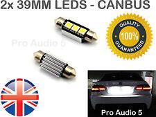 2x 39 millimetri Canbus Bianco 3 SMD LED Lampadine-Errore Libero Numero Targa O Interni Luce