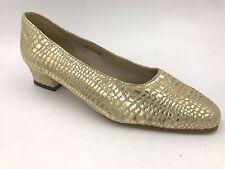 Vintage Bob Baker Gold Metallic Leather Snakeskin Low Heels size 8.5 Unworn B1