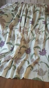 """Pair quality woven Floral linen look Curtains.Ivory 90""""Wx72""""L IMMACULATE"""