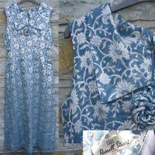 VTG RUSSELL STUART Blue SILVER BROCADE DAGGER Collar Maxi EVENING Mod DRESS S/M