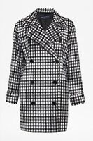 FRENCH CONNECTION CHECK DOUBLE BREASTED WOOL COAT SIZE UK 8 10 12 RRP £220