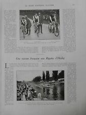 1912 VELO FINALE COURSE PARIS HOURLIER POUCHOIS FRIOL