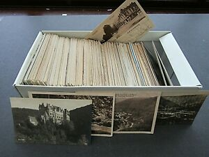 EXTENSIVE VINTAGE POSTCARD COLLECTION IN BOX - 1900/1930s - OVER 500 M & U