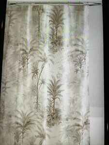 pottery barn flax palm tolie shower curtain #1673