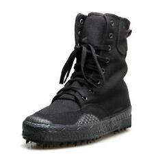 Mens Military Combat Canvas Boots Lace Up Tactical Army Ankle Boots black casual