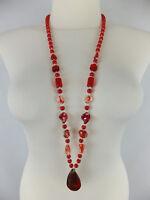 Halskette mit Muranoglas neu Modeschmuck rot goldfarbener Glitzer Hippie Boho
