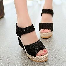Khoee AW0115 Women's Shoes Peep Toe Wedge Platform Ankle Strap (black)
