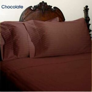 1200TC EGYPTIAN COTTON CHOCOLATE STRIPED DUVET SET + FITTED SHEET KING SIZE