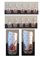 VINTAGE Libbey Crisa Christmas 12 oz. Drinking Glass Tumblers Gingerbread 5-PC