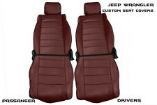 2007-2010 Front and Rear Jeep Wrangler JK Burgundy Seat Covers Black Stitching