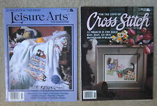 Two Counted Cross Stitch Magazines Leisure Arts + Cat Designs 1994 / 1995 Euc