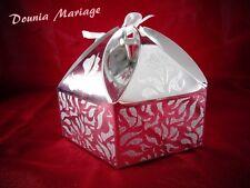 boite à gâteau forme de pyramide argenté pour mariage ou baptême x25