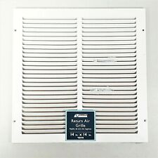 "Accord White Heavy Guage Steel Return Air Grille 14x14""  1/2"" Fin Spacing"
