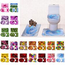 Soft Flannel Bath Mats Washable Luxury 3 Pieces Set Toilet Rugs Floral Print