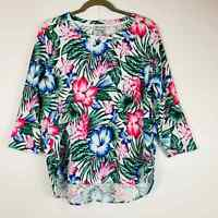 Tommy Bahama Women's XL Floral Cotton 3/4 Sleeves Blouse Rounded Hem White Green