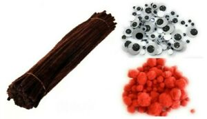 300 Brown Pipe Cleaners Chenille Stems Red Pom Poms Googly Eyes Pack Rudolph Set