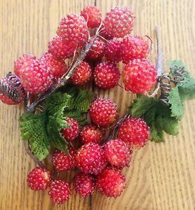 Two Clusters Of Beaded Look Red Fruit Berries Hard Plastic Sparkle Velvet Leaves