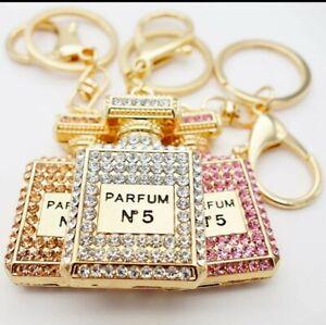 Rhinestone Keyring Bling Crystals Chanel N05 Perfume Bottle Car AirFreshner