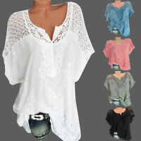 Women O-Neck Short Sleeve Hollow Out Casual Blouse Loose Tops Summer T-Shirt