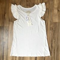 Current/Elliott Double Ruffle Muscle Tank in Star White NWT $118 Size Small