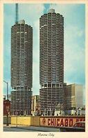 Chicago, Illinois Marina City Towers Vintage 1960s Postcard A03