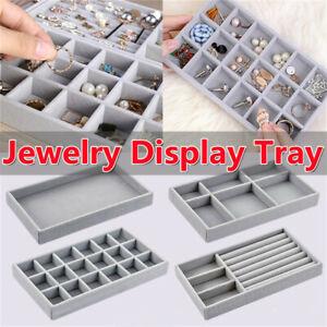 Gray Velvet Jewelry Display Organizer Box Tray Holder Ring Earring Storage Case