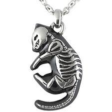 Controse Jewelry Skeletal Feline Necklace Skeleton Cat Bones Goth