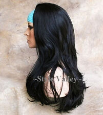 Our thickest Black 3/4 Wig Fall Hairpiece Straight Half Wig Hair Piece color #1B