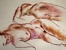 FEMALE NUDE MIRRORED ORIGINAL ART DRAWING by PAUL WAGENER (AMERICAN b. 1918)