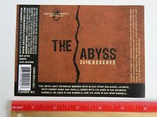 BEER Label STICKER ~ DESCHUTES Brewing the Abyss 2015 Reserve ~ Bend, OREGON