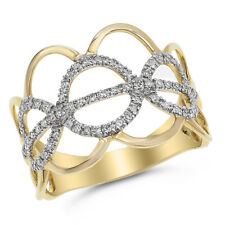 Diamond Cocktail Right Hand Ring 14K Yellow White Gold Pave Round