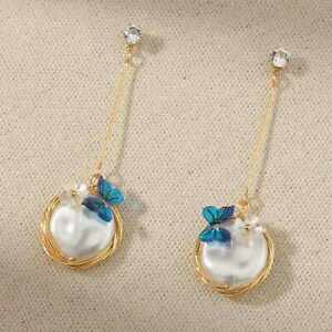 Fashion Blue butterfly Manual wind white coin pearl gold ear stud Halloween