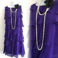 MONSOON Purple Silk 20's Flapper Gatsby Tiered Frilled Party Evening Dress 8 36