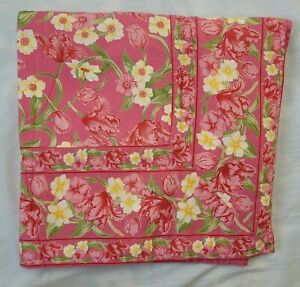 April Cornell Pink Floral Tablecloth Rectangle Green Yellow All Cotton 60x116