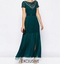 Frock and Frill Maxi Dress With Jeweled Neck in Teal Green UK6 EU34 RRP£95