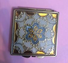 Art Deco Blue Gold Filigree w/ Swarovski Crystals Square Mirror Compact
