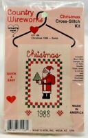 1988 Whats New Counted Cross Stitch Embroidery Kit Christmas Hanger Santa 7832F