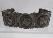 MARICELA OLD TAXCO MEXICO PICTORIAL STERLING SILVER BRACELET: DONKEY, CACTUS etc