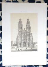 Lithographie Originale XIXème par Isidore Laurent Deroy - Cathédrale de Tours