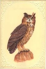 Eurasian Eagle Owl Art Handmade Bird of Prey Rare Watercolor Miniature Painting