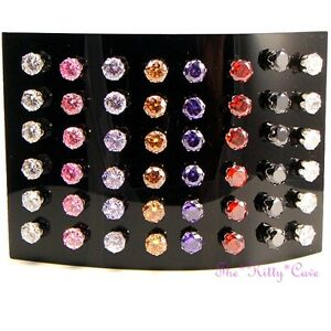 Large Stainless Steel Studs Earrings w/ 7mm Swarovski Solitaire Crystal Elements