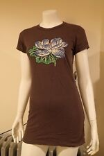 NWT Ed Hardy Tunic Lotus Basic S/S Brown Cotton Long L T-Shirt Dress FREE GIFT!!