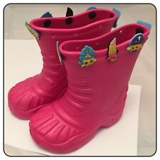 Girls Pink Rubber Wellies Boots Shoes + 10 Shopkins Charms - Kids Size 10 EU 28