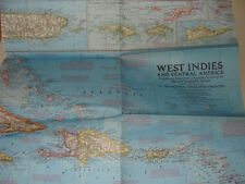 National Geographic Society Map West Indies and Central America 1970