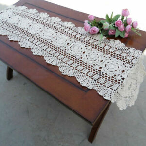 Table Runner Cotton Handmade Crochet Hollow Floral Vintage Wedding Table Cover