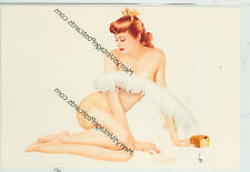 "VARGA SEXY REDHEAD WITH FEATHER- RISQUE-4""X6""(#22*)"