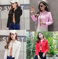 Fashion Womens Denim Jacket slim Jeans Coat Casual Long Sleeve Vintage Outwear.