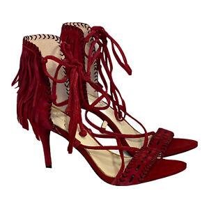 Jessica Simpson Mareya Fringe Heels Dress Sandals Women's Size 8 M Red